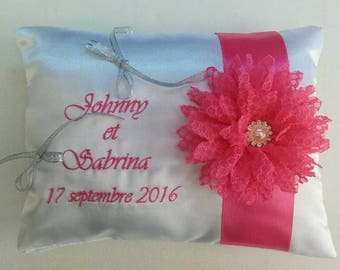 wedding ring bearer cushion / pillow with lace flower