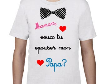 """Kids t-shirt marriage proposal """"Mommy will you marry Daddy"""""""