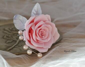 Rose for bridal hair flowers for bridal hair pins with flowers, flowers wedding hair pins