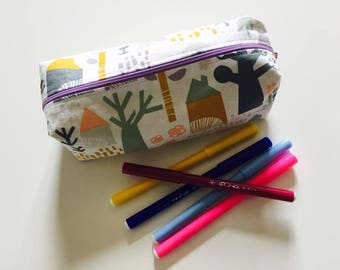 pencil case with zipped closure