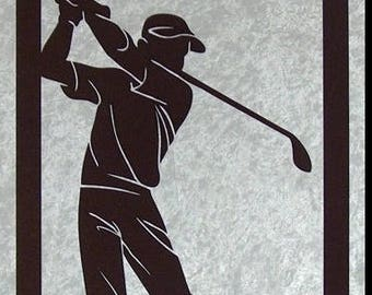 Golf player - silhouette cut and painted wooden frame
