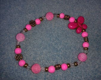 Retro hot pink butterfly bracelet