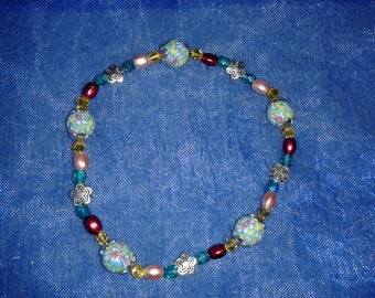 Bathmat Fimo and multicolored Crystal bracelet