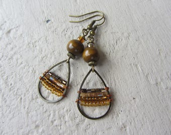 Dangling wood beads, seed beads and bronze metal drops Amber Brown