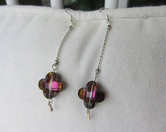 dangle earrings Crystal Gray stylized flowers / purple, silver ball chain