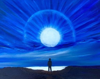 Tableau. The sea, the night, moon, the horizon. Meditation