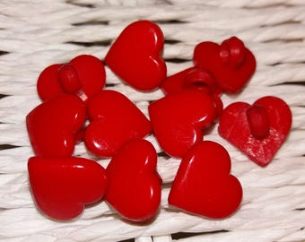 set of 11 buttons hearts red plastic