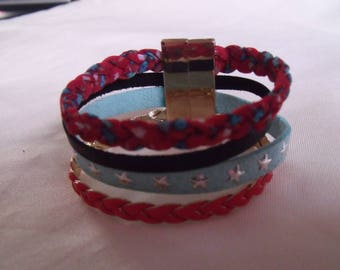 black blue red Cuff Bracelet