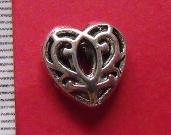 2 silver openwork heart 12mmx12mm Tibetan style beads