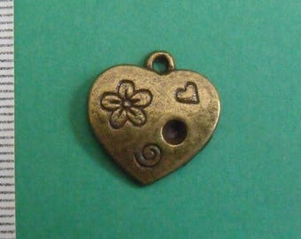charm color bronze heart 18mmx17mm