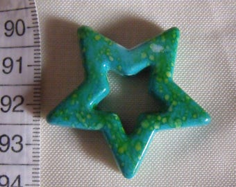 set of 5 beads acrylic star speckled green 38mm