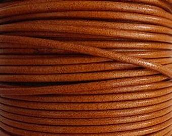 20 cm Strip round 3 mm Brown leather