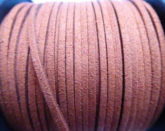 1 meter suede cord chocolate 3mm wide 1 mm thick