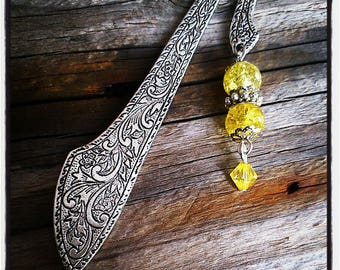 Silver bookmark, yellow cracked glass beads
