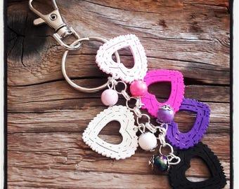 handbag charm / key theme wood hearts