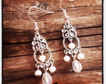 Earrings silver and white glass beads