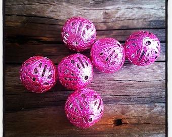 set of 6 metal filigree pink 12 mm beads