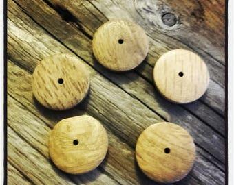 set of 5 flat wood beads 20mm