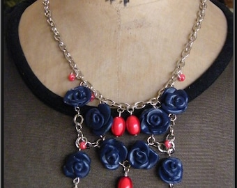 Blue polymer clay rose necklace
