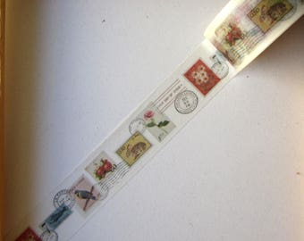 """Masking tape - pattern """"Stamps"""" - just under 2cms x 10 m"""
