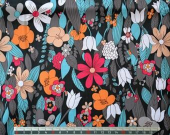 Black PVC coated fabric * waterproof * flowers