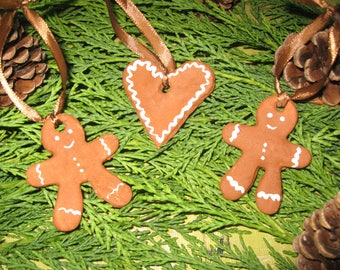 Free shipping! set of three Christmas ornaments heart salt dough