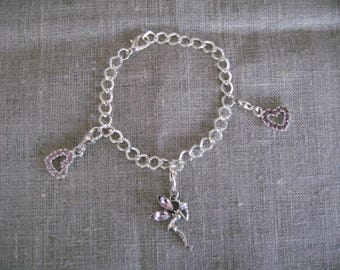 free shipping!  Pink Hearts charms bracelet