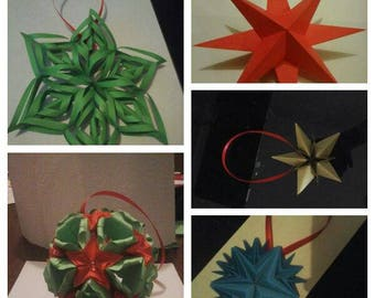 Christmas set of 5 origami Christmas ornaments