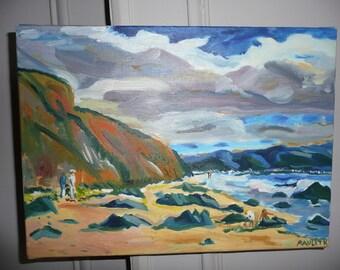 "Handmade oil painting "" sea side"" painted on canvas - seascape"