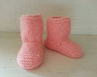 Toes flannel pink spirit boots 6-9 months - 80% wool - slippers
