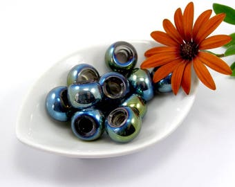 European beads 15 mm translucent blue and gold glass set of 2