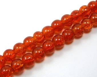 Set of 10 beads 6 mm cracked glass orange