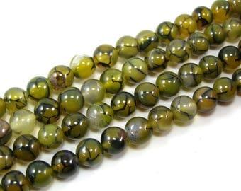 Green set 8 mm dragon vein agate bead 4