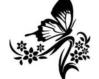 Butterfly and flower decal