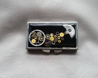 Steampunk watch parts and resin rectangle pill box or small box 3 pockets