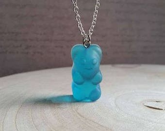 Necklace 62 cm + pendant bear candy turquoise resin