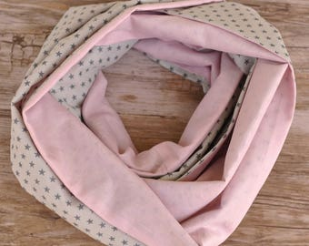 Starry light pink and grey Snood for girl