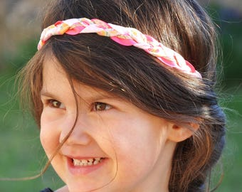 Liberty Lemon curd, neon pink and gold braided headband