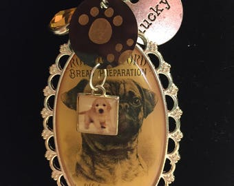 Pug pendant with shrinky dinks and charms