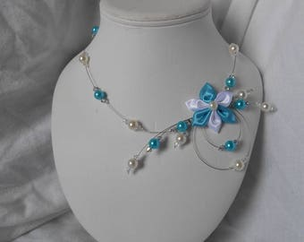 Juliet necklace with Swarovski pearls and turquoise and white satin flower