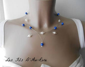 PERLICA necklace with Pearl & Royal Blue beads