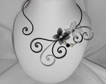 Wire aluminum Black and silver and black Butterfly Necklace