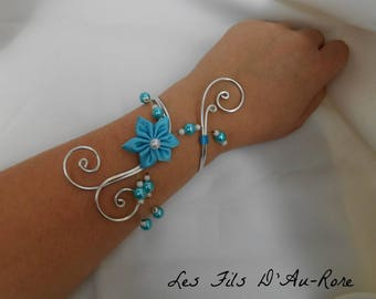 Aluminum bracelet with turquoise and teal satin flower