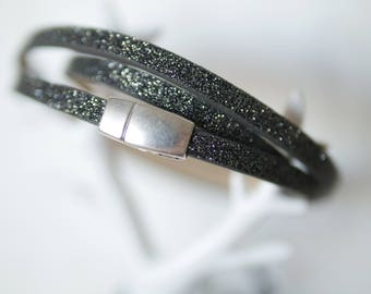 Bracelet 3 tours - faux leather black and silver [Valentines Day gift.