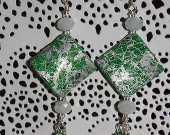 Earring green conical beads