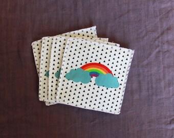 Set of 4 baby wipes washable Rainbow