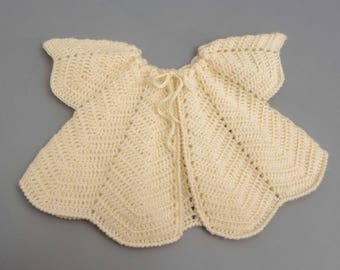 Vest crocheted baby T3-6 months, light yellow