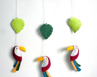 Mobile tropical theme - plum toucans and leaves made of felt and faux leather