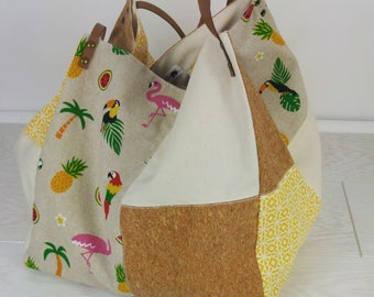 Cotton tote bag square in the colors of summer