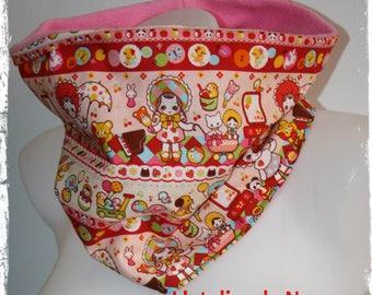 snood - adult reversible tube scarf / teen kawaii